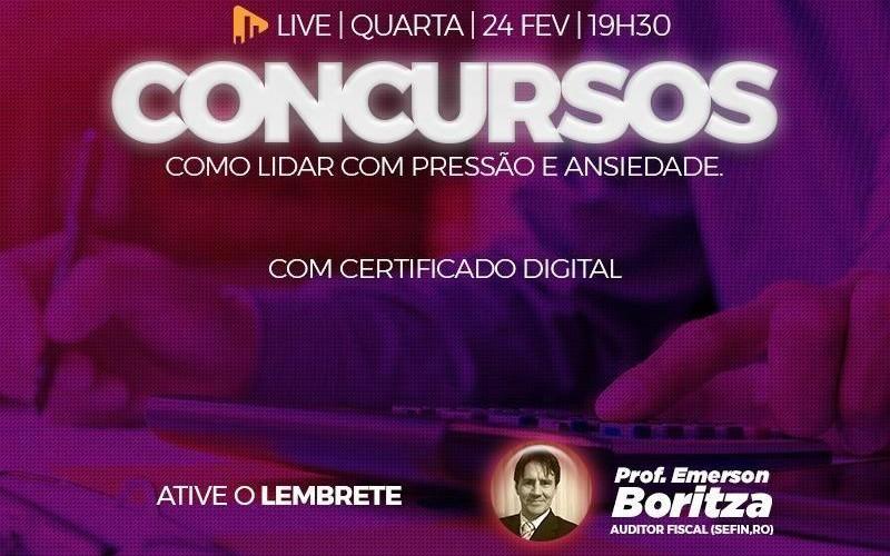 MOTIVAÇÃO: LIVE com o professor EMERSON BORITZA - AUDITOR FISCAL da SEFIN/RO