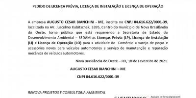 PEDIDO DE LICENÇA PRÉVIA, LICENÇA DE INSTALAÇÃO E LICENÇA DE OPERAÇÃO - AUGUSTO...