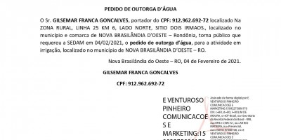 PEDIDO DE OUTORGA DE AGUA - GILSEMAR FRANCA GONCALVES