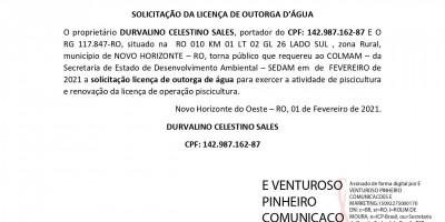 SOLICITAÇÃO DA LICENÇA DE OUTORGA D'ÁGUA - DURVALINO CELESTINO SALES