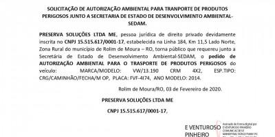 SOLICITAÇÃO DE AUTORIZAÇÃO AMBIENTAL PARA TRANPORTE DE PRODUTOS PERIGOSOS  - PRESERVA