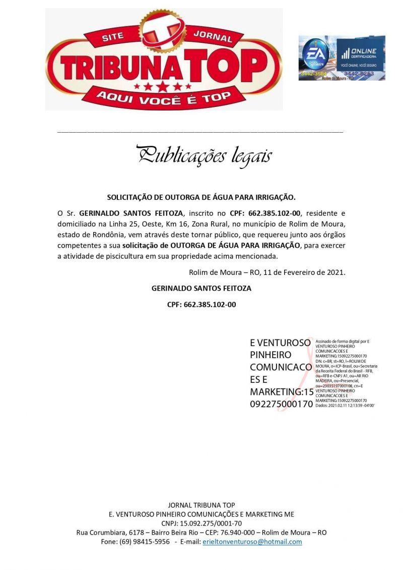 SOLICITAÇÃO DE OUTORGA DE ÁGUA - GERINALDO SANTOS FEITOZA