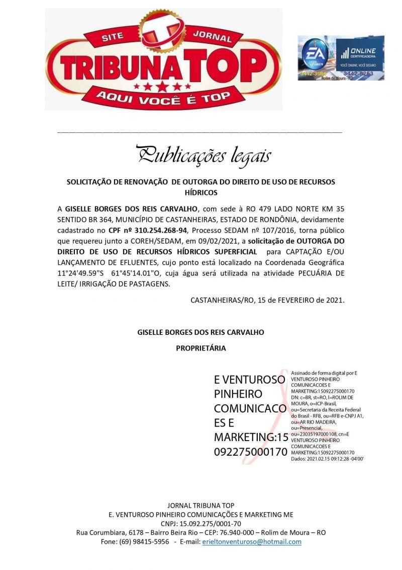 SOLICITAÇÃO DE RENOVAÇÃO  DE OUTORGA DO DIREITO DE USO DE RECURSOS HÍDRICOS - GISELLE BORGES DOS REIS CARVALHO