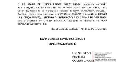 PEDIDOS DE LICENÇAS PRÉVIA, INSTALAÇÃO E OPERAÇÃO - MARIA DE LURDES RAMOS