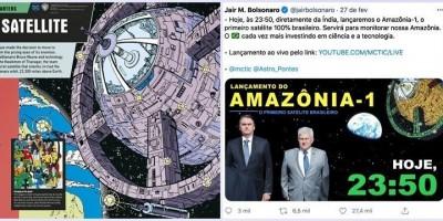 Ao divulgar lançamento do primeiro satélite brasileiro, Bolsonaro usa imagem dos...