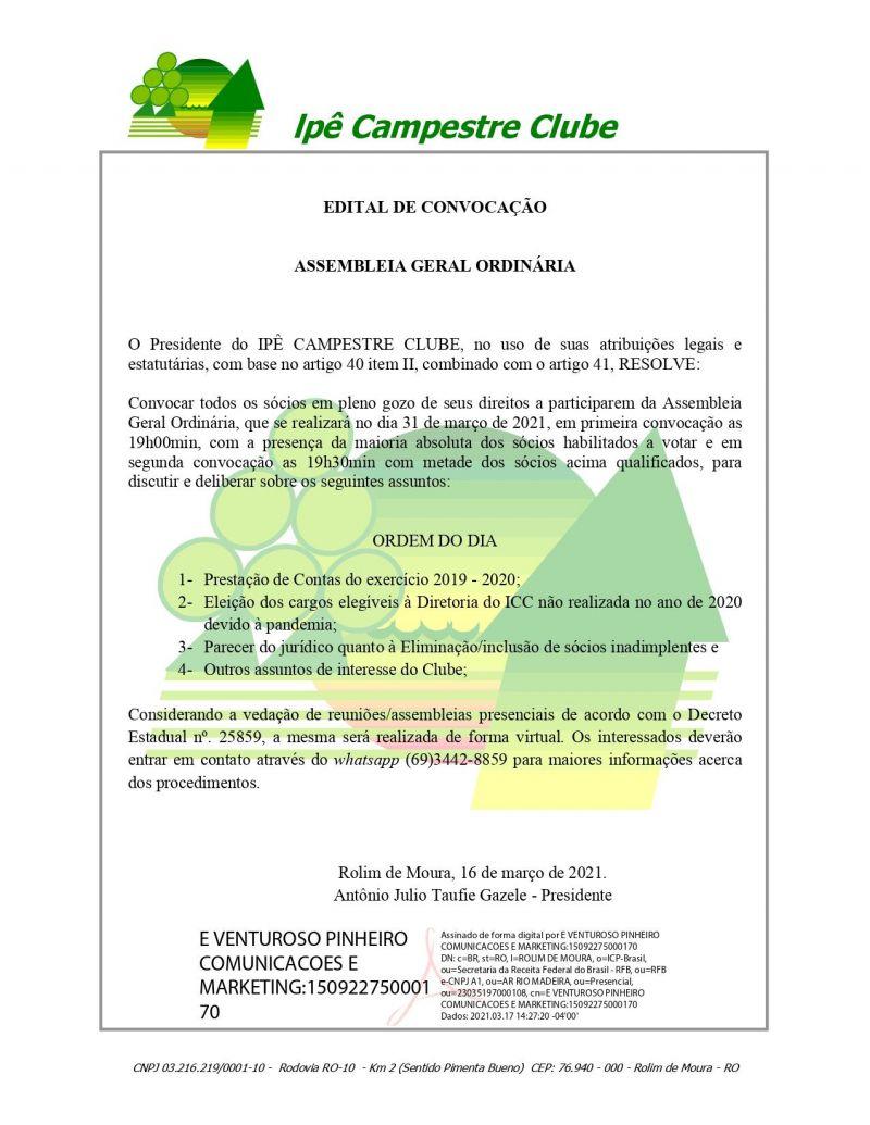 EDITAL DE CONVOCAÇÃO - IPÊ CAMPESTRE CLUBE