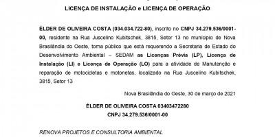 PEDIDO DE LICENÇA PRÉVIA,  LICENÇA DE INSTALAÇÃO e LICENÇA DE OPERAÇÃO - ÉLDER...