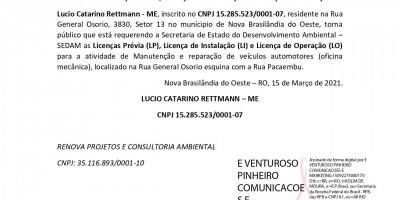 PEDIDO DE LICENÇA PRÉVIA, LICENÇA DE INSTALAÇÃO E LICENÇA DE OPERAÇÃO - Lucio...