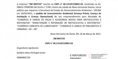 PEDIDO DE LICENÇA PRÉVIA – LICENÇA DE INSTALAÇÃO – LICENÇA DE OPERAÇÃO  - 2M...