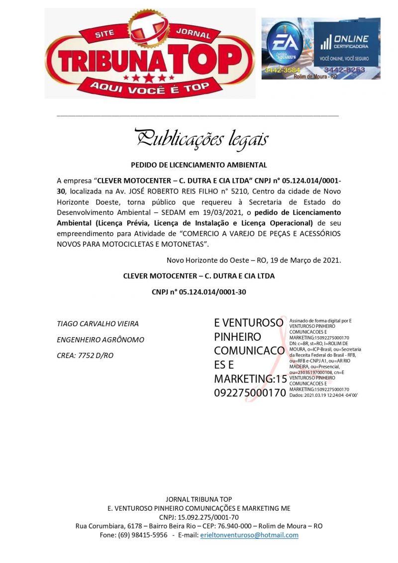 PEDIDO DE LICENCIAMENTO AMBIENTAL - CLEVER MOTOCENTER