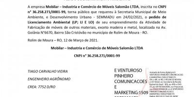 PEDIDO DE LICENCIAMENTO AMBIENTAL - Mobilar