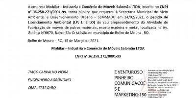 PEDIDO DE LICENCIAMENTO AMBIENTAL -Mobilar – Industria e Comércio de Móveis Salomão...