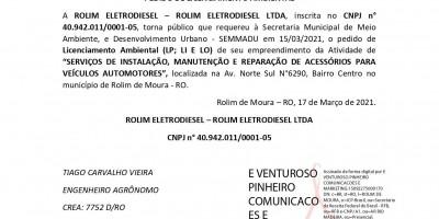 PEDIDO DE LICENCIAMENTO AMBIENTAL – ROLIM ELETRODIESEL LTDA