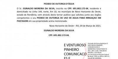 PEDIDO DE OUTORGA D'ÁGUA - EGINALDO MOREIRA DA SILVA