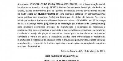 PEDIDO LICENÇA PRÉVIA, INSTALAÇÃO E OPERAÇÃO  - JOSE CARLOS DE SOUZA PENHA