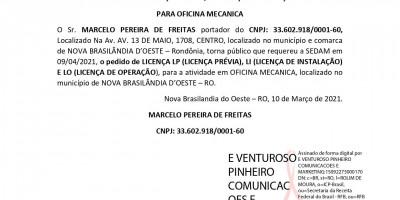 PEDIDOS DE LICENÇAS PRÉVIA, INSTALAÇÃO E OPERAÇÃO  PARA OFICINA MECANICA - MARCELO...