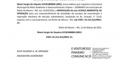 RENOVAÇÃO DE LICENÇA AMBIENTAL DE OPERAÇÃO - Mario Sergio de Siqueira