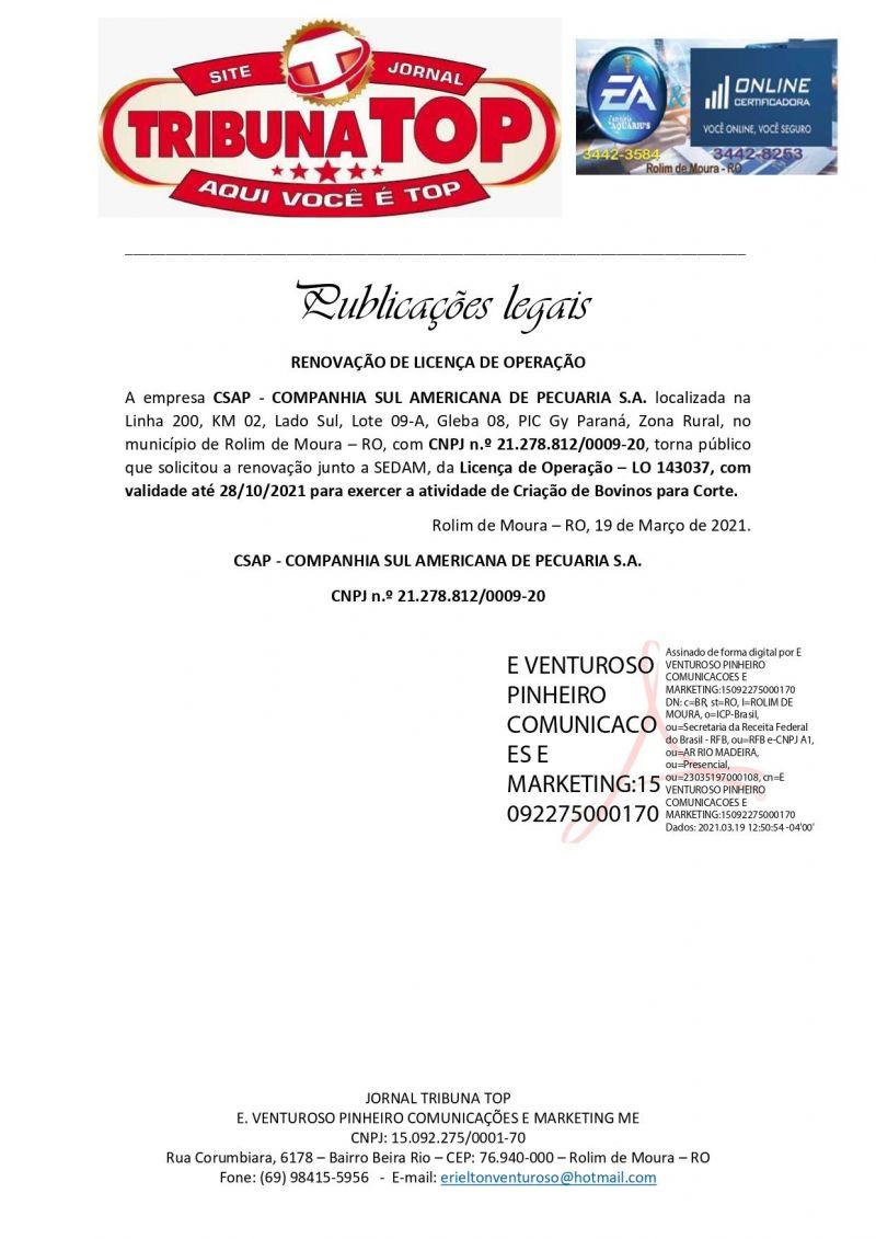 RENOVAÇÃO DE LICENÇA DE OPERAÇÃO - CSAP - COMPANHIA SUL AMERICANA DE PECUARIA S.A.
