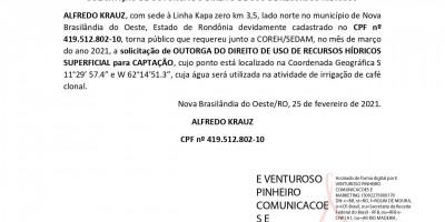 SOLICITAÇÃO DE OUTORGA DO DIREITO DE USO DE RECURSOS HÍDRICOS - ALFREDO KRAUZ