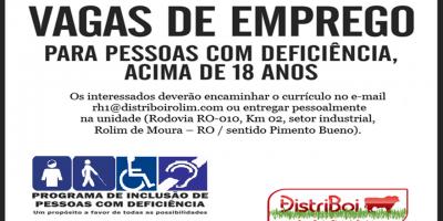 VAGAS DE EMPREGO - PCDs - DISTRIBOI - MARÇO 21