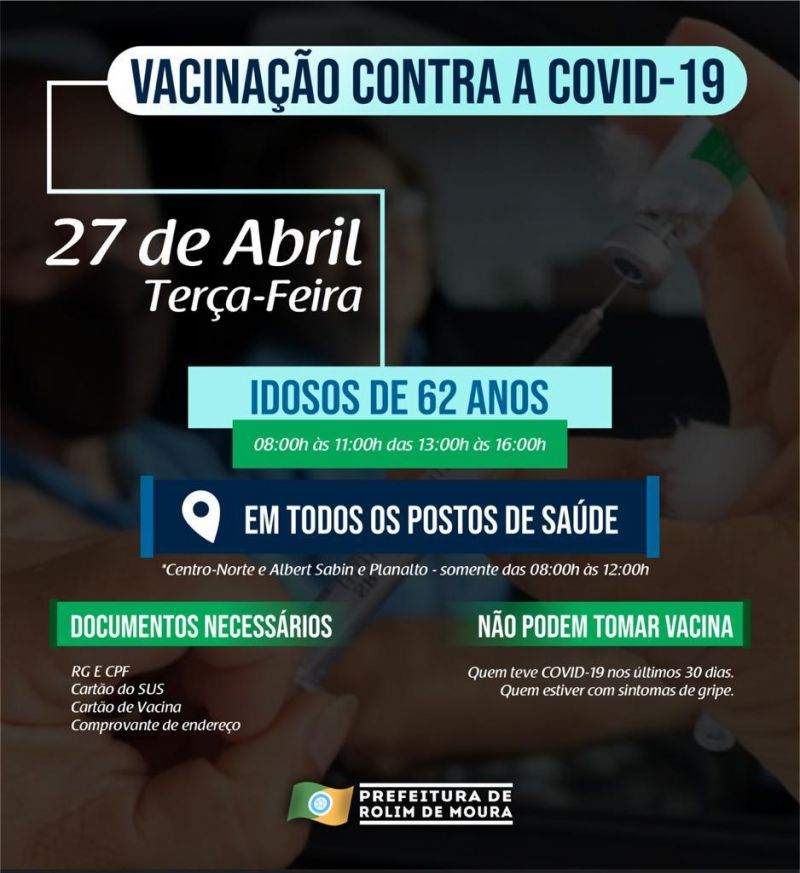 Pessoas com 62 anos e profissionais de Educação Física serão vacinadas contra covid-19 nesta terça (27) em Rolim de Moura
