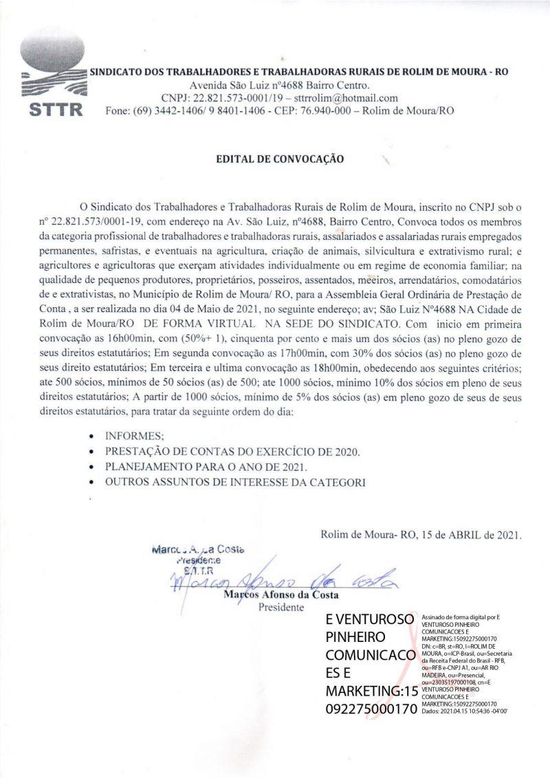 EDITAL DE CONVOCAÇÃO - STTR
