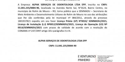 EXPEDIÇÃO LICENÇA AMBIENTAL - ALPHA SERVIÇOS DE ODONTOLOGIA