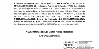 EXPEDIÇÃO LICENÇA AMBIENTAL  -  PICA PAU MOTOS