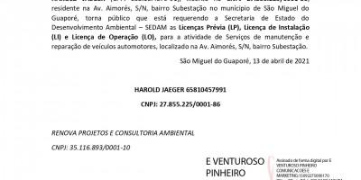 PEDIDO DE LICENÇA PRÉVIA, LICENÇA DE INSTALAÇÃO E LICENÇA DE OPERAÇÃO - HAROLD...