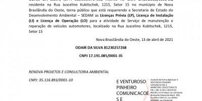PEDIDO DE LICENÇA PRÉVIA, LICENÇA DE INSTALAÇÃO E LICENÇA DE OPERAÇÃO - ODAIR DA...