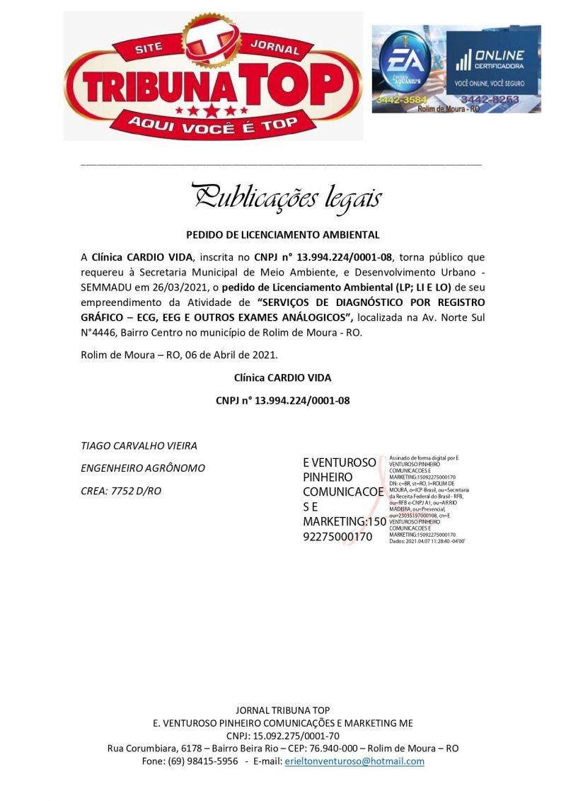 PEDIDO DE LICENCIAMENTO AMBIENTAL - CLÍNICA CARDIO VIDA