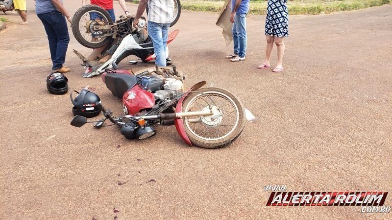 Dois motociclistas ficam feridos após colisão entre motos no Bairro Industrial em Rolim de Moura