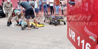 Motociclista fica ferido em acidente de trânsito no Centro de Rolim de Moura