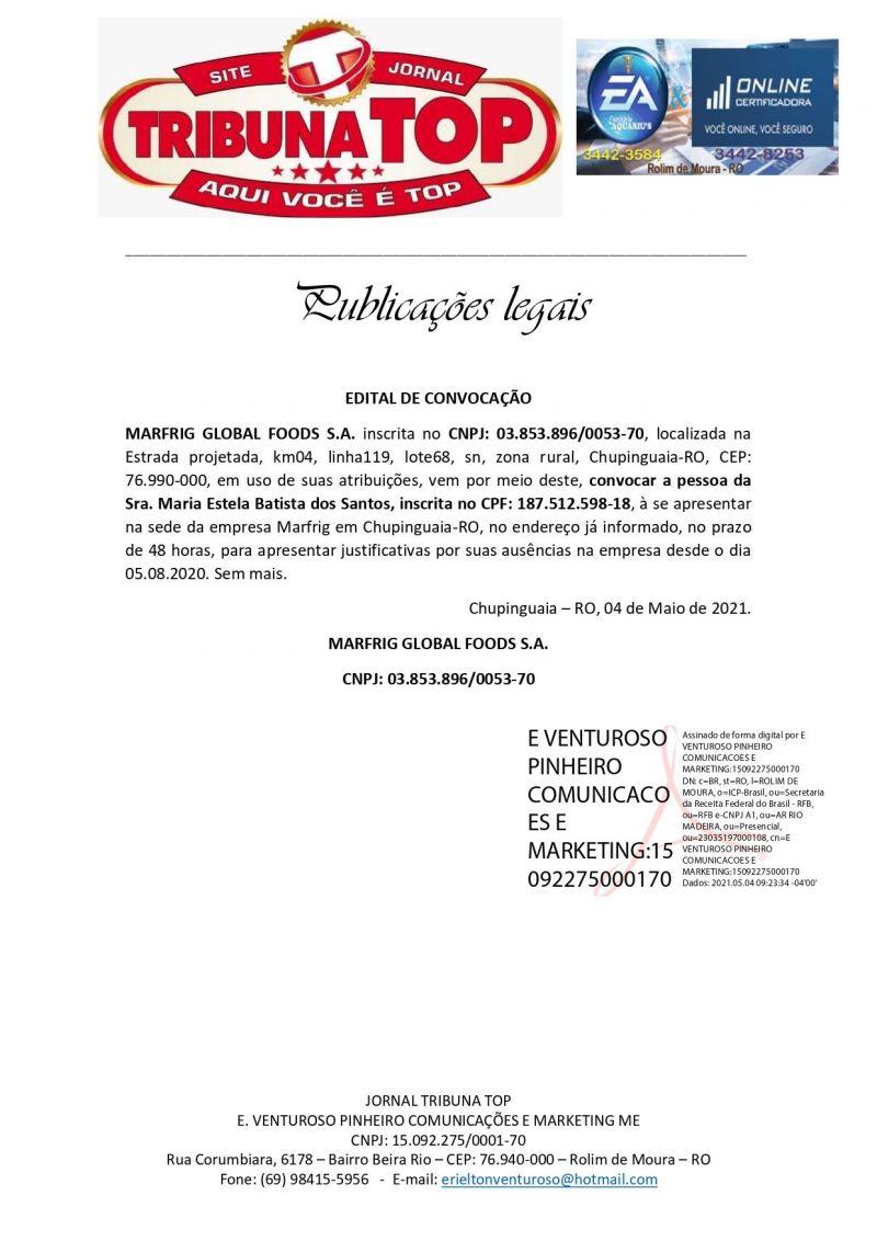 EDITAL DE CONVOCAÇÃO - MARFRIG GLOBAL FOODS S.A.