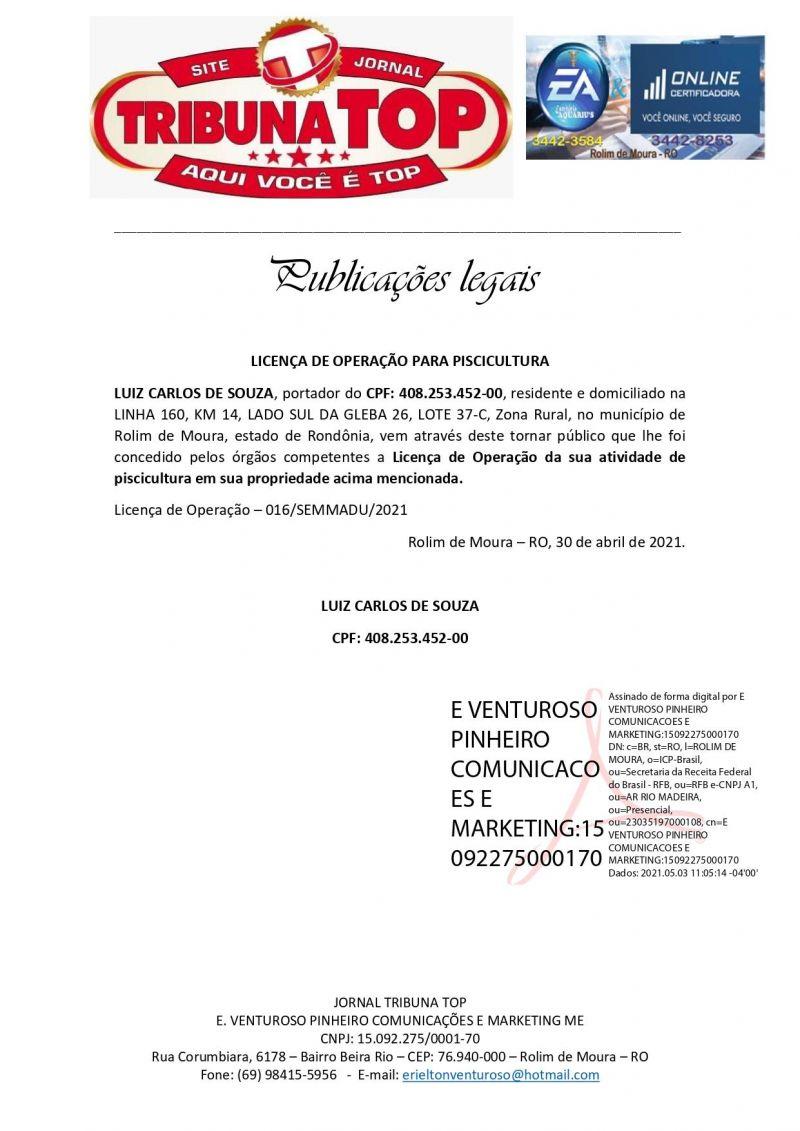 LICENÇA DE OPERAÇÃO PARA PISCICULTURA - LUIZ CARLOS DE SOUZA