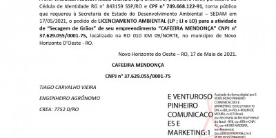 PEDIDO DE LICENCIAMENTO AMBIENTAL - CAFEEIRA MENDONÇA