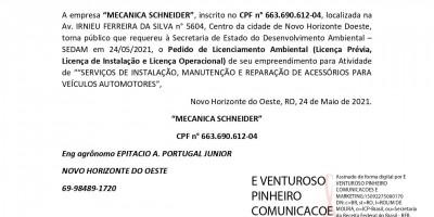 PEDIDO DE LICENCIAMENTO AMBIENTAL  - MECANICA SCHNEIDER