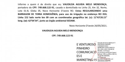 REGULARIZACÃO DE BARRAGEM - VAUDILEIA AGUIDA MELO MENDONÇA