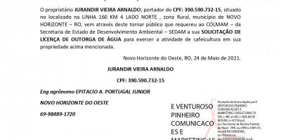 SOLICITAÇÃO DE LICENÇA DE OUTROGA DE ÁGUA - JURANDIR VIEIRA ARNALDO