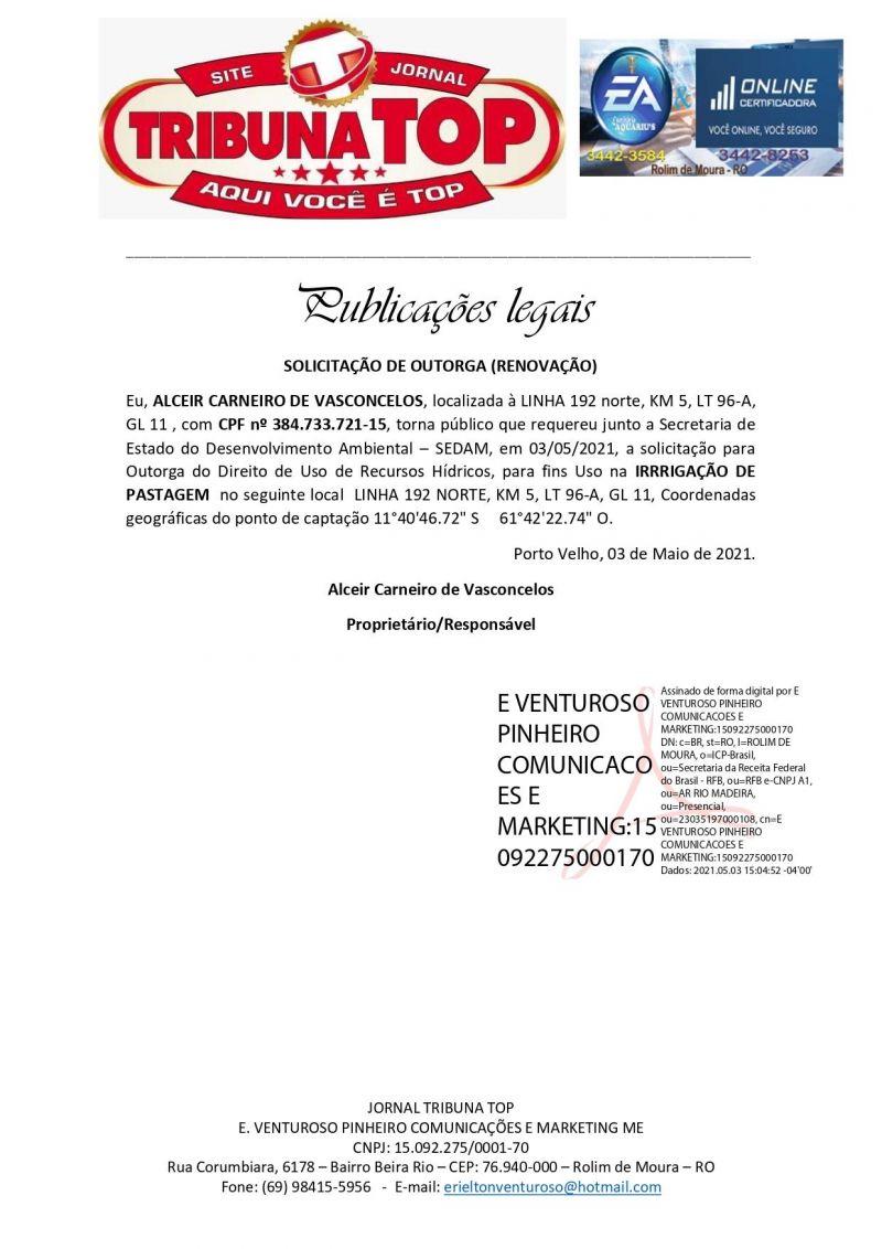 SOLICITAÇÃO DE OUTORGA (RENOVAÇÃO) - ALCEIR CARNEIRO DE VASCONCELOS
