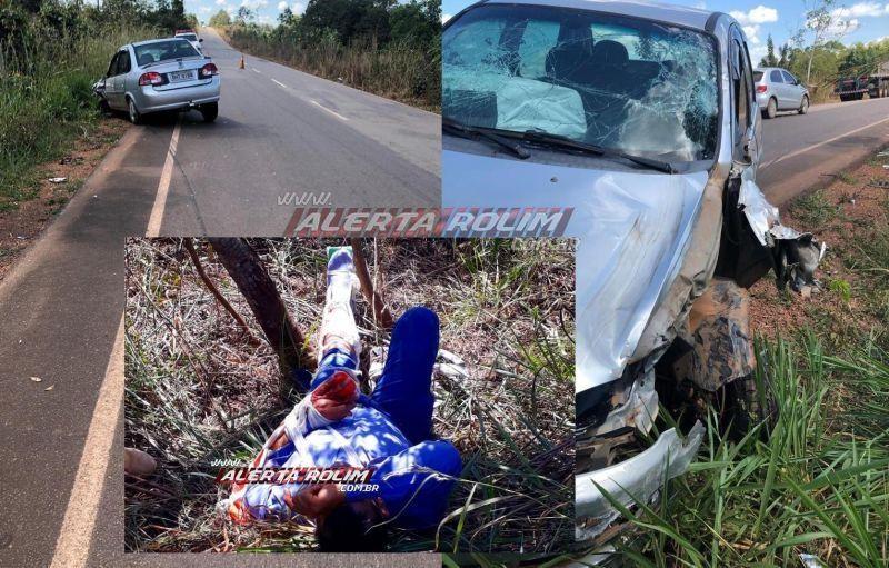 Motociclista é socorrido com possíveis fraturas após colisão entre moto e carro na RO-010, próximo a Nova Estrela