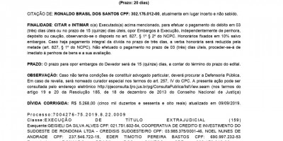 EDITAL DE CITAÇÃO - RONALDO BRASIL DOS SANTOS