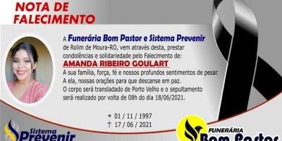 Funerária Bom Pastor emite nota de falecimento de Amanda Ribeiro Goulart