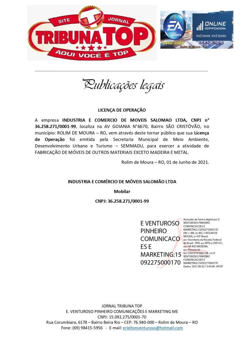 LICENÇA DE OPERAÇÃO - INDUSTRIA E COMERCIO DE MOVEIS SALOMAO LTDA