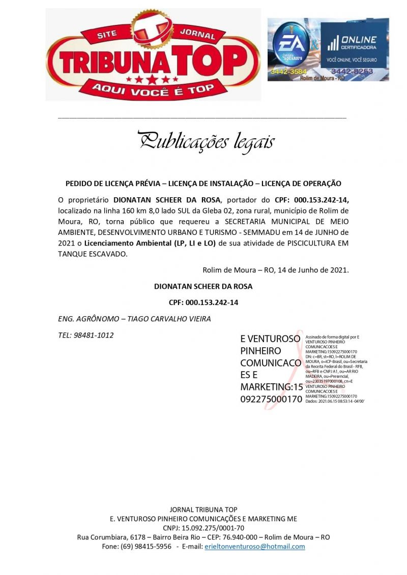 LICENÇA PRÉVIA - INSTALAÇÃO - OPERAÇÃO - DIONATAN SCHEER DA ROSA
