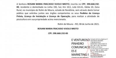 PEDIDO DE LICENÇA PRÉVIA – LICENÇA DE INSTALAÇÃO – LICENÇA DE OPERAÇÃO -...