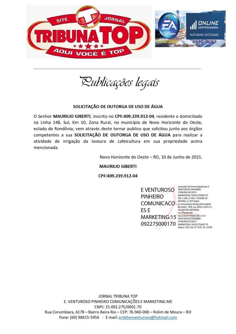 SOLICITAÇÃO DE OUTORGA DE USO DE ÁGUA - MAURILIO GIBERTI