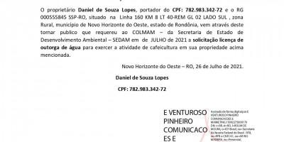 SOLICITAÇÃO DE OUTORGA DE ÁGUA - Daniel de Souza Lopes