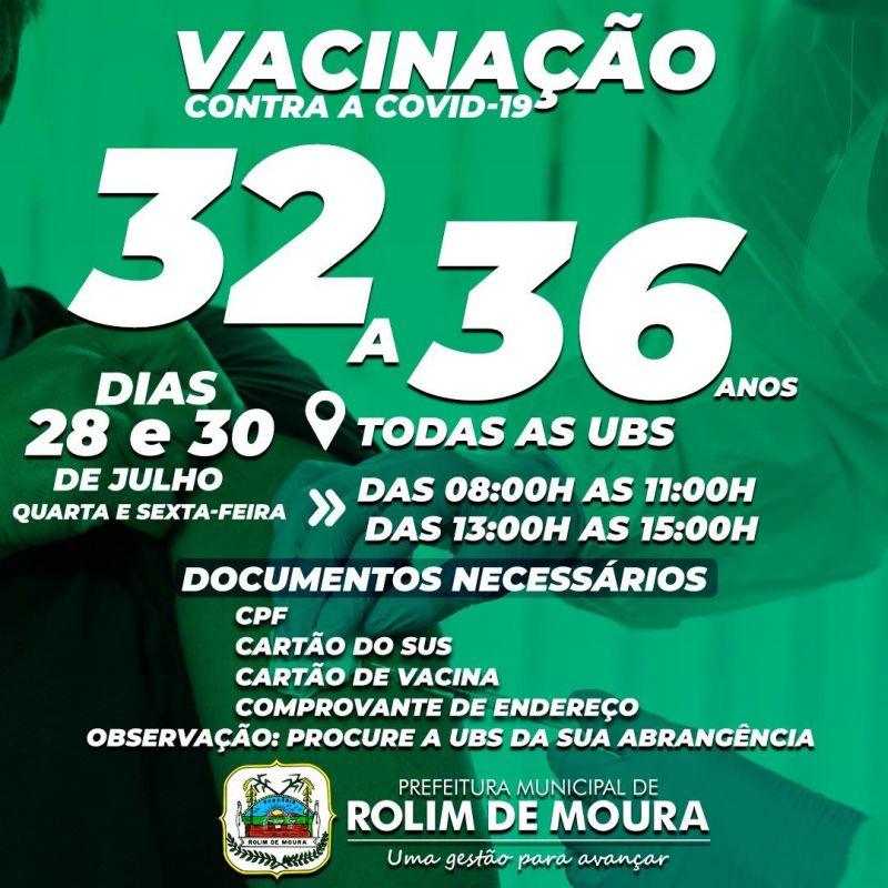 Rolim de Moura: Vacinação contra covid-19 para pessoas com idade entre 32 a 36 anos será nesta quarta e sexta-feira