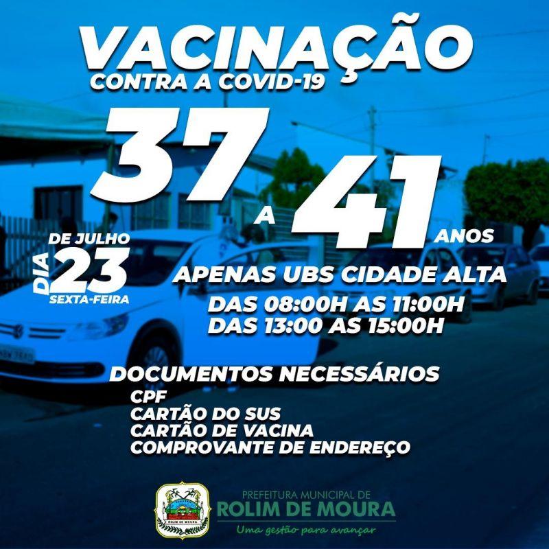 Moradores com idade de 37 e 41 anos do Bairro Cidade Alta poderão receber a vacina contra covid-19 nesta sexta (23)